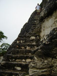 Tom Hammen climbs ancient stone stairs after hip replacement surgery by Dr. Robert Zehr