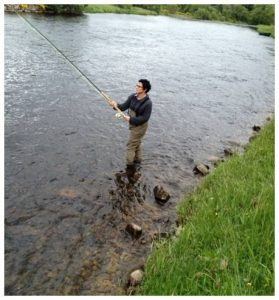 Pamela Gerard fly fishing after hip replacement surgery by Dr. Robert Zehr