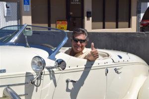 Dave LeHotan drives car with clutch after knee surgery by Dr. Robert Zehr