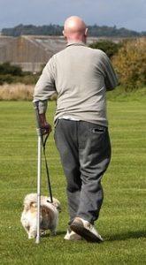 Man using a cane while walking dog